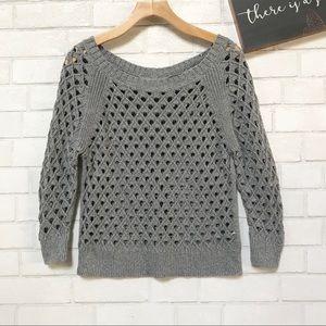 American Eagles Crochet Knit Sweater Boatneck
